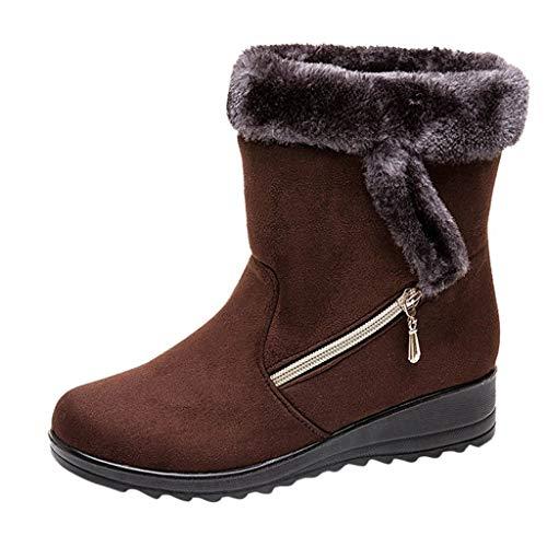 BaZhaHei Damen Stiefeletten Mode Elegante Stiefel Herbst Winter Schuhe Schlupfstiefel Gefüttert Schneeschuhe Ankle Short Bootie Zipper Warme Schuhe Winterstiefel