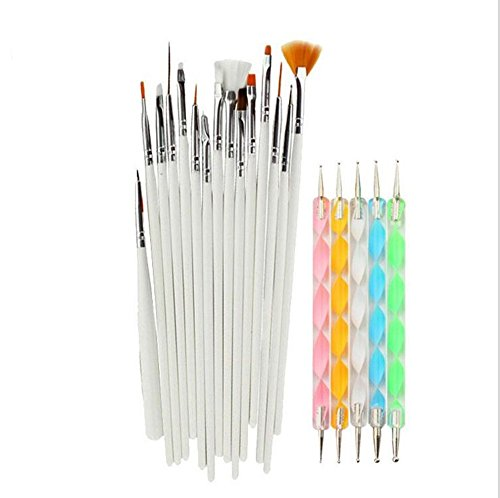Set of 20 pcs Nail Art Brushes,15 PCS Brushes,5 PCS Two Way Dotting Pen Tool Nail Art Tip Dot Paint Manicure kit,Painting Tools Kit
