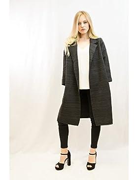 Lady de punto oversized Casual con palangre perchero de pared de mezcla de lana chaqueta Color Negro Gris Oscuro