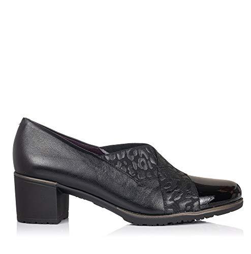 PITILLOS 5733 Zapato Piel Tacon Medio Mujer Negro 37