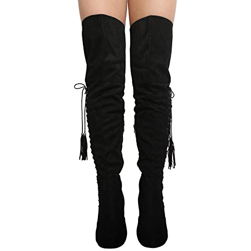 NEW WOMENS LADIES HIGH BLOCK HEEL OVER THE KNEE LACE UP BOOTS...