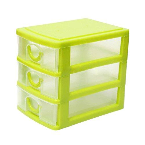 SODIAL(R) Aufbewahrungsbox mit 3 Schubladen Tisch Storage Box Schmuck Organizer Boxen Gruen