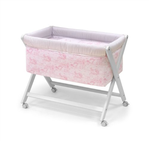 Cambrass 46 x 78 cm Wooden Crib X with Fabrics Collection Toile (Pink)