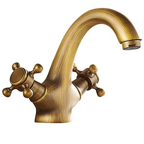 Wasserhahn Retro Kupfer heißen und kalten Einlochmontage Bad Vanity Sink Basin Durchmesser von 32 mm bis 35 mm installiert werden -