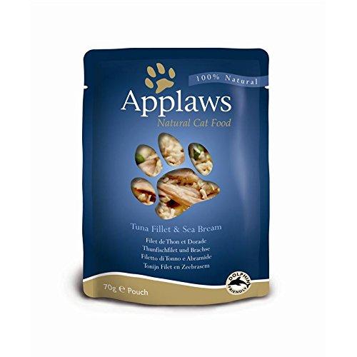 Applaws Katze Beutel Thunfischfilets & Pacific Garnelen, 12er Pack (12 x 70 g)