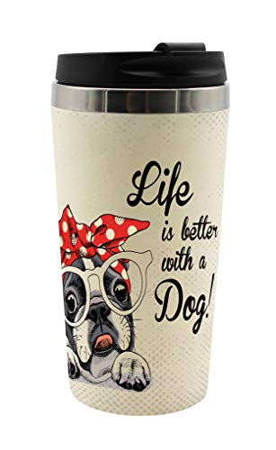 infinite by GEDA LABELS (INFKH) 13719 Vintage Tiere Hund Coffee to go Becher, Thermosbecher, Mehrwegbecher, Mehrfarbig