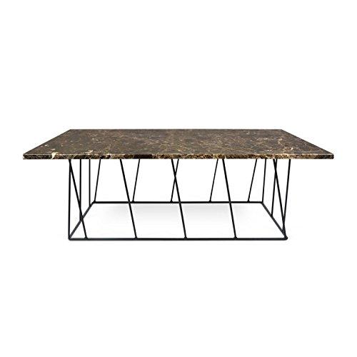 Paris Prix - Temahome - Table Basse Helix 120cm Marbre Marron & Métal Noir
