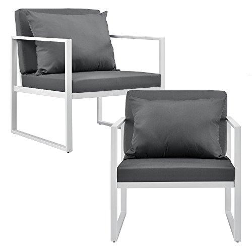[casa.pro] 2X Gartenstuhl Gartensessel Weiß/Lichtgrau Outdoor Garten Lounge Sessel 70 x 60 x 60 cm