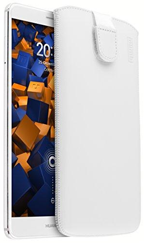 mumbi ECHT Ledertasche für Huawei Mate 9 Tasche Leder Etui weiss (Lasche mit Rückzugfunktion Ausziehhilfe)