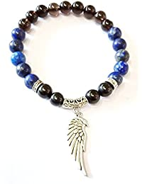 Crystal Cave Lapis Lazuli, Jet Stone And Smoky Quartz Bracelet 8mm For Depression