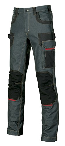 Pantalone in Tessuto Jeans Stretch Inserti Cordura Platinum Button U-Power (44)