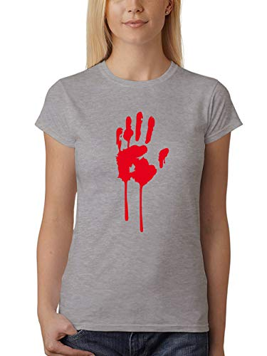 clothinx Damen T-Shirt Fit Halloween Bluthand Grau Größe ()