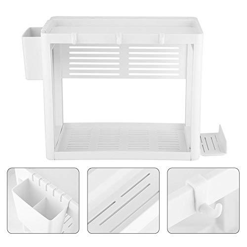 Scaffale da cucina, doppio separatore per ripiani da cucina, ripiano portaoggetti con supporto per bacchette extra
