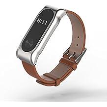 COOSA Correa De Cinturón De Pulsera De Cuero Con Brazalete De Marco De Metal Pulsera Accesorios Para Xiaomi Mi Banda 2 Smart Watch (No Tracker) (3 marrón, para xiaomi pulsera inteligente 2)