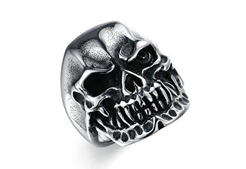 SanJiu Schmuck Herren Ringe Edelstahl Ring Totenkopf Schädel 29MM Retro Gotik Biker Punk Klassisch Ring für Herren Silber Schwarz Größe 60 (19.1) (Hosen Freimaurer Männer)