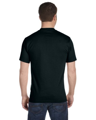 Hanes Mens Double-Needle Stitched Sleeves Cotton Tee Pack of 5 Black