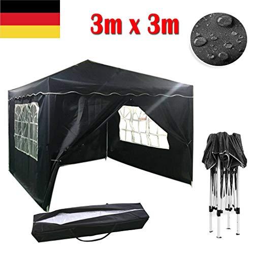 Yiyai Faltpavillon 3x3 Wasserdicht mit Seitenteilen UV-Schutz 50+ Festzelt | Gartenzelt | Partyzelt | Ideal für Garten, Terrasse, Party, Veranstaltung Blau
