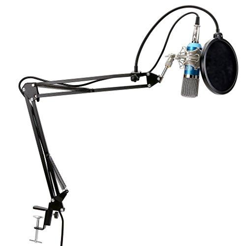 Tonor XRL zu 3.5 mm Kondensator-Mikrofon Kit Schall Podcast Studio Rundfunk & Aufnahme Microphone für Computer mit Popschutz und Verstellbarem Mikrofonhalter Mikrofonarm Mikrofonständer & Mikrofon Sets Blau