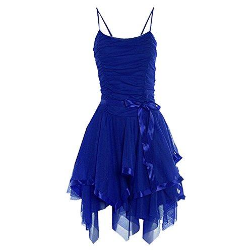 Ärmelloses Riemchen Cami Damen Krawatte Up Damen Mesh Halskrause Gerüscht Ball Party Kleid - Royal Blue - Mesh Ruched Frilled Cami Party Dress