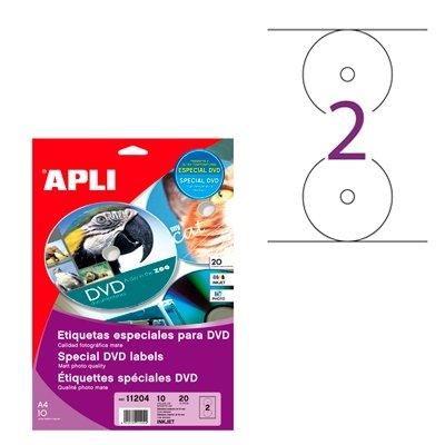 Apli bolsa 10 hojas etiquetas dvd blancas diametro 117 mm inkjet 20 ud.