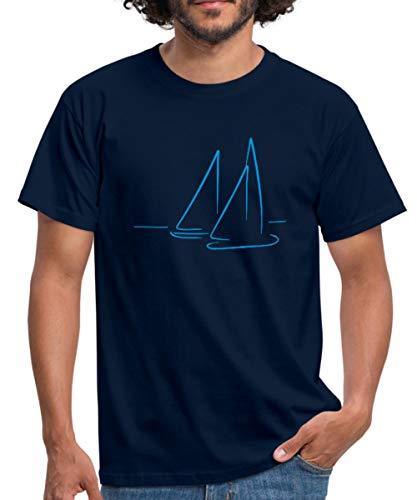 Spreadshirt Segeln Segelboote Meer Männer T-Shirt, L, Navy