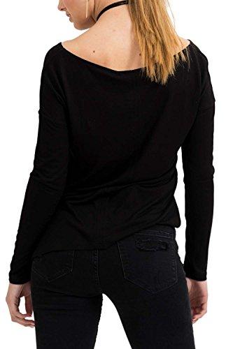 trueprodigy Casual Damen Marken Long Sleeve einfarbig Basic, Oberteil cool und stylisch mit Rundhals (Langarm & Slim Fit), Langarmshirt für Frauen in Farbe: Schwarz 1073544-2999 Black