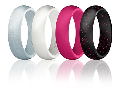 Silikon Hochzeit Ring für Frauen by ROQ, Günstigen Silikon Gummi Hochzeit Bands, 4Pack–Schwarz mit Glitter Glitzer Blaugrün, silber, türkis, weiß, Black with Pink glitters, White, silver and Pink, 6.5-7 (17.3mm) (Camo-diamant-ring Rosa)