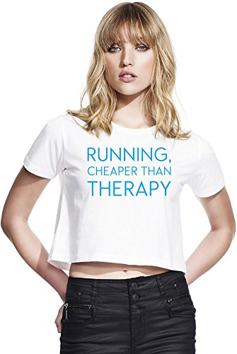 9e580708154b23 Running Cheaper Than Therapy Funny Slogan Womens Continental Cropped Jersey  Large