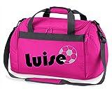 Sporttasche mit Namen   inkl. NAMENSDRUCK   Motiv Fußball   Personalisieren & Bedrucken   Reisetasche Jungen Ball Sport-Verein   blau schwarz (pink)
