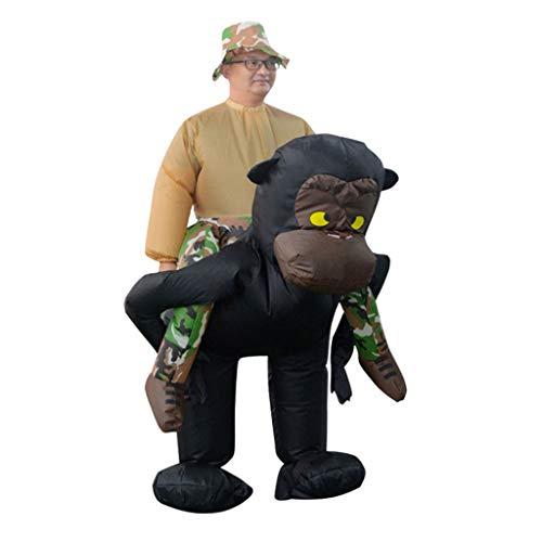 Kostüm Sie Reiten Auf - YHNUJMIK Halloweenkostüm Reiten Sie Auf Tier Cosplay Party Kostüm Aufblasbares Orang-Utan Kostüm Maskerade Kostüm Erwachsene Lustige Kleidung Enthält Einen Hut 1 STÜCK