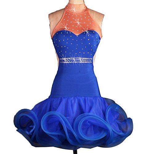 Rückenfrei Lateinisches Tanz-Kleid Für Frauen Professionel Performance Kostüm Flauschiger Rock Stehkragen Wettkampfanzug Mit Strass, Treasure Blue, M