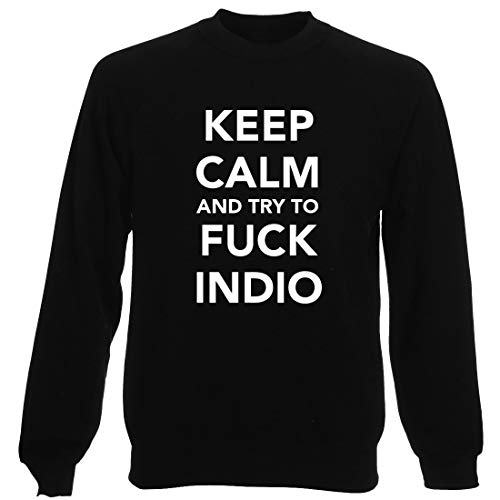 T-Shirtshock Sudadera por Hombre Negro TKC1278 Keep Calm and Try TO FCK  Indio
