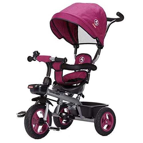 Hclshops Kinder Tricycle Nicht aufblasbare 05.01 Jahre alt Baby-Fahrrad mit Markise (Color : Purple)