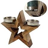 LS-LebenStil Holz Kerzenständer Stern 2-fach 22cm Alu Stumpenkerze XL Teelichter