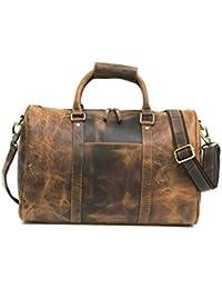025296302b5b Zakara 100% Genuine Hunter Brown Leather Weekend Overnight Travel Gym Bag