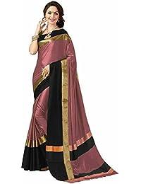 Vinayak Textiles Women Cotton Silk Saree (Aura Peach, Black)