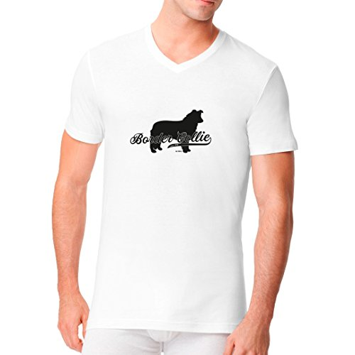 Männer V-Neck Shirt - Hundezüchter Motiv Border Collie (schwarz) by Im-Shirt Weiß