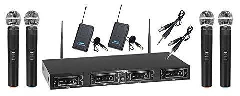 McGrey UHF-4V2I set radio quatre voix/instrument, y compris 4 émetteurs manuels et 2 bodypacks - Wireless Quad