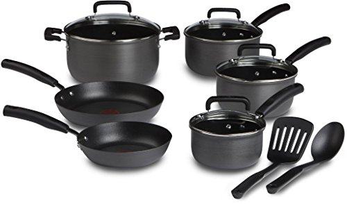 T-fal D913SC Signature Hard Anodized Scratch Resistant PFOA Free Nonstick Thermo-Spot Heat Indicator Cookware Set, 12-Piece, Gray