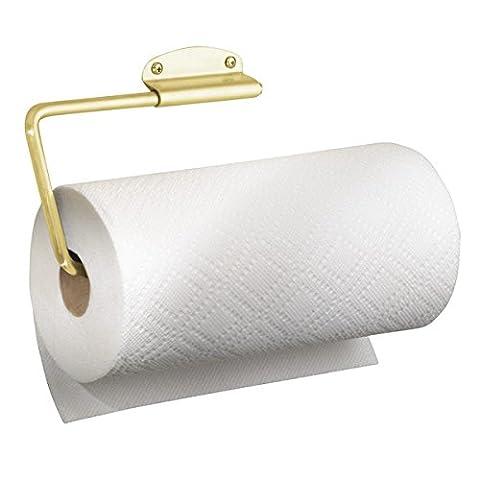 mDesign Porte-serviette en papier pivotant pour la cuisine - Montage mural / Sous meuble, Laiton