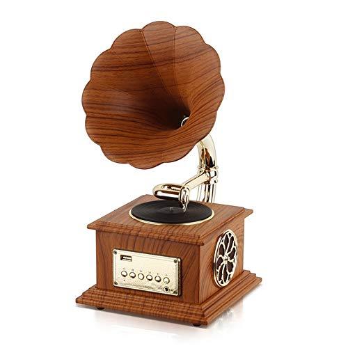 Haut-parleur Bluetooth Vintage rétro, Rétro corne platine tourne-disque Bluetooth machine d'enregistrement Vintage phonographe tourne-disque Bluetooth haut-parleurs platine vinyle avec décoration de l