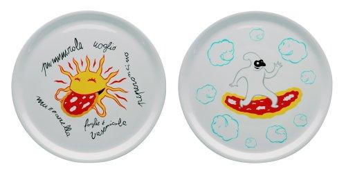 A di Alessi AMGI08 S1 Assiettes à pizza en porcelaine décorée - Set de 2 pièces - Blanc