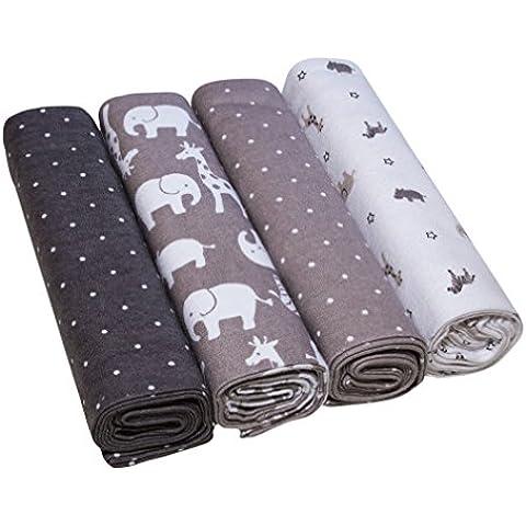 Muselinas para bebés, extra suaves de EMMA & NOAH, pack de 4, tamaño de 76 cm x 76 cm, paño de muselina de 100% algodón – ideales como pañales de tela, paños de muletón, mantas de lactancia, doudou