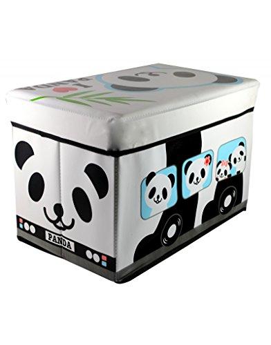 Homeline Puff-arcón plegable infantil - Modelo autobús Panda (48x31x31 cm)