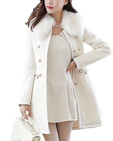 Damen Warme Zweireiher Jacke Mantel Faux Pelz Kragen mit Kapuze Weiß S