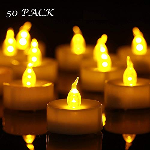 YHY Tea Lights, Flameless LED Tea Light Candles 100 Hours Pack of 50 Realistic Flickering Bulb Battery Operated Tea Lights Seasonal & Festival Celebration Electric Fake Candle in Warm Yellow(50)
