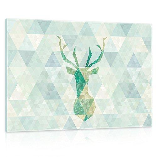 Rechteckige Abgeschrägte Glas ('delester Design gt11400g3Wanddekoration Hirsch Origami Glas mehrfarbig 40x 60x 1,60cm)