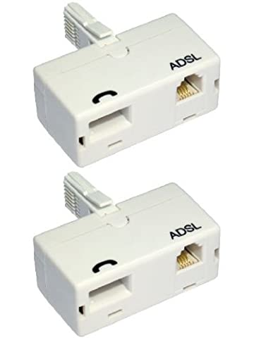 World of Data? - 2 x ADSL Microfilter (Twin Pack) - Premium Quality - BT Approved - Broadband & Phone Socket - Male to Female - Adapter -