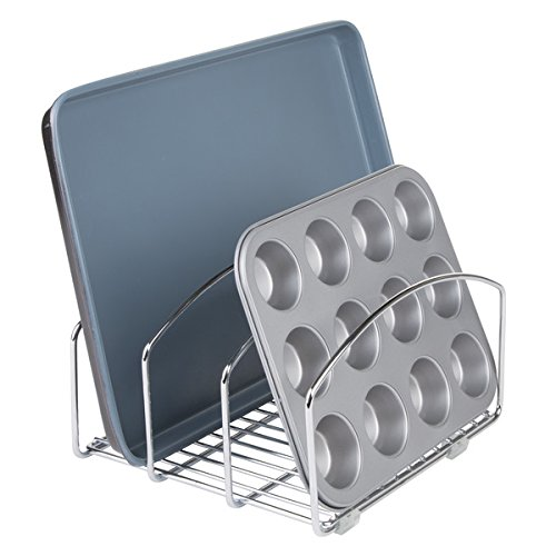 MetroDecor 6550MDK Mdesign Bakeware Organiser Steel Baking Tray Rack Cutting Board Holder,Chrome Finish