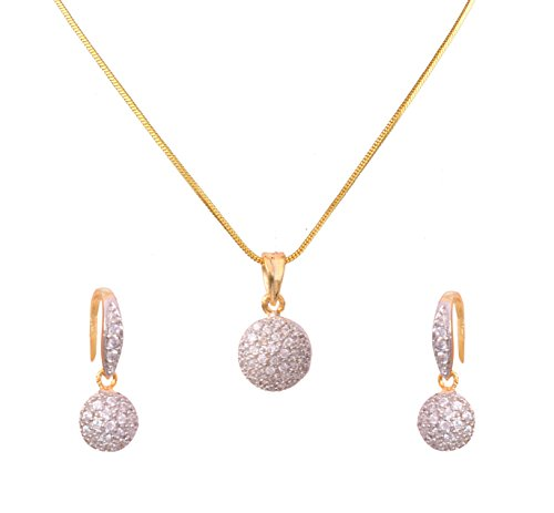 Sitashi fashion Jewelry 22 K Gold Plated Full AD Stone Pendant Set for girls